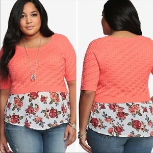 Torrid coral cropped sweater Sz 3